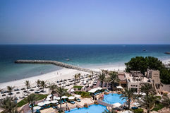 Ajman. August 2016. Beach hotel Ajman Saray. The view from the room to the Persian Gulf Royalty Free Stock Images