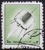 AJMAN/MANAMA -大约1972年:邮票由关于空间的历史的阿吉曼打印了, 免版税库存照片