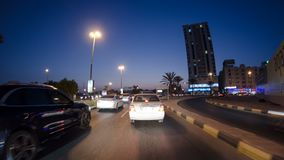 Drive on the streets of Ajman timelapse hyperlapse. Ajman is the capital of the emirate of Ajman in the United Arab Emirates. AJMAN, UAE - SEPTEMBER 2016: Drive royalty free stock photos