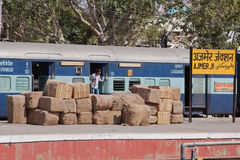 Ajmer Junction, India. AJMER, INDIA – MARCH 13, 2015: Scene at Ajmer junction train station which links Delhi in the north with western Rajasthan. The stock photography