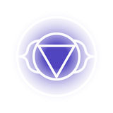 Ajna chakra icon. Vector Ajna chakra icon. Color yoga chakra symbol on white. Great for design, associated with yoga and India. Energetic point from Buddhism and vector illustration