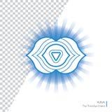 Ajna El ojo Chakra del Thr tercer aisló el icono multicolor - para el estudio de la yoga, bandera, cartel Concepto Editable Imagen de archivo