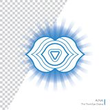 Ajna O olho Chakra do Thr terceiro isolou o ícone colorido - para o estúdio da ioga, bandeira, cartaz Conceito editável Imagem de Stock