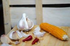 Ajo, comida, maíz Imagen de archivo