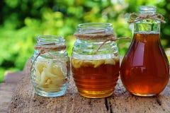 Ajo en la miel de la abeja, cuidado de piel del remedio Foto de archivo libre de regalías