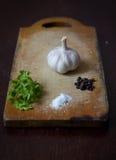 Ajo, pimienta, sal y perejil Foto de archivo libre de regalías