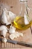 Ajo y aceite de oliva Imagen de archivo libre de regalías