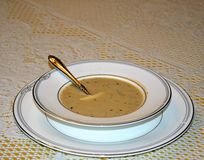 Ajo y sopa asados de Parmesean Imagen de archivo libre de regalías