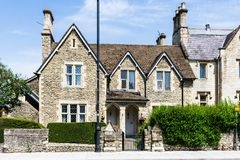 Trowbridge Wiltshire June 28th 2019 Vergers cottages on Church street stock photography