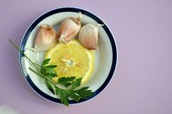 Ajos y limón Fotografía de archivo