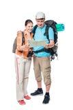 Ajouter actifs aux sacs à dos et carte sur un blanc Image stock