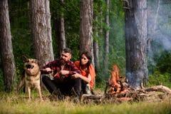 Ajouter au chien de berger allemand près du feu, Photographie stock libre de droits