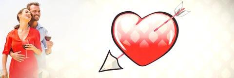 Ajouter au coeur et au vin de transition de l'amour de la valentine Photo stock