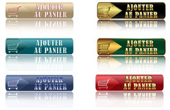Ajouter au Panier- set of french web buttons Stock Photos