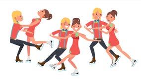 Ajouter au vecteur de patineurs de glace Spectacle sur glace de formation Garçon et fille dans les paires Illustration de personn Images stock