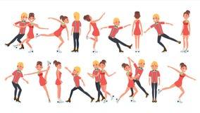 Ajouter au vecteur de patineurs de glace Spectacle sur glace de formation Garçon et fille dans les paires Illustration de personn Image libre de droits