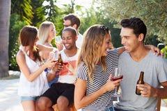 Ajouter aux amis buvant du vin et détendant dehors Photographie stock