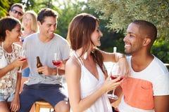 Ajouter aux amis buvant du vin et détendant dehors Images stock