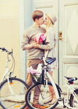 Ajouter aux bicyclettes dans la ville Images stock