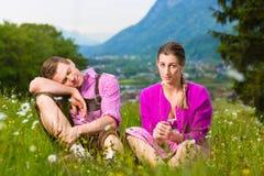 Ajouter aux questions dans le pré alpin Photo libre de droits