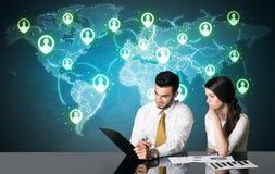 Ajouter d'affaires à la connexion sociale de media Photo libre de droits