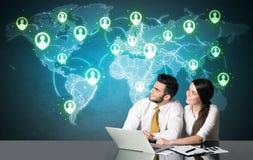 Ajouter d'affaires à la connexion sociale de media Images stock