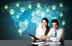 Ajouter d'affaires à la connexion sociale de media Image libre de droits