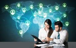 Ajouter d'affaires à la connexion sociale de media Photos stock