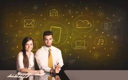 Ajouter d'affaires au fond d'icônes de media Image libre de droits