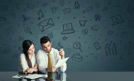 Ajouter d'affaires au fond d'icônes de media Image stock