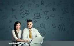 Ajouter d'affaires au fond d'icônes de media Images stock