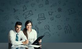 Ajouter d'affaires au fond d'icônes de media Photo libre de droits
