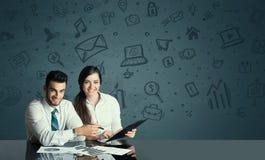 Ajouter d'affaires au fond d'icônes de media Photo stock