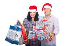 Ajouter de Noël aux sacs à provisions et aux cadres Photos stock