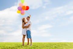 Ajouter de sourire aux ballons à air dehors Images libres de droits