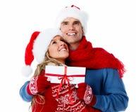 Ajouter heureux au cadeau de Noël. Photos libres de droits