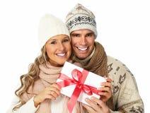 Ajouter heureux au cadeau de Noël. Photo stock