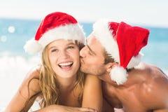 ajouter heureux au chapeau de Noël photographie stock