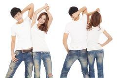 Ajouter heureux au T-shirt blanc Photographie stock libre de droits