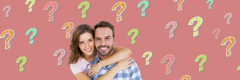 Ajouter heureux aux points d'interrogation géniaux colorés Image stock