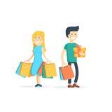 Ajouter heureux de famille aux achats illustration de vecteur
