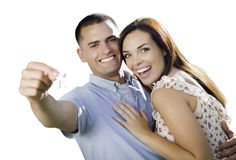 Ajouter militaires de nouveaux mariés aux clés de Chambre d'isolement sur le blanc Images stock