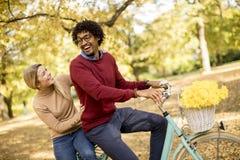 Ajouter multiraciaux à la bicyclette en parc d'automne photos libres de droits