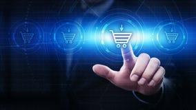 Ajoutez au panier le concept en ligne d'achat de magasin de Web d'Internet images stock