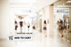 Ajoutez au panier sur la barre d'adresse au-dessus du fond de magasin de tache floue image libre de droits