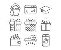 Ajoutez l'achat, la fenêtre du navigateur et les icônes d'offre spéciale Signes de boîte-cadeau, de surprise et d'éponge Image libre de droits
