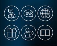 Ajoutez les icônes d'utilisateur, de service de boîte-cadeau et de support Message, amour international et signes de livre Image stock