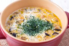 Ajoutez les verts dans une casserole de soupe images libres de droits