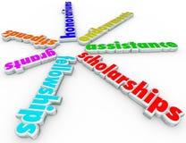 Ajuda Assistanc da faculdade do apoio da ajuda econômica das concessões das bolsas de estudos ilustração stock