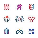 Ajuda da comunidade dos povos da parte para reconstruir o grupo do ícone do logotipo da sociedade ilustração stock